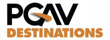 A logo for PGAV Destinations